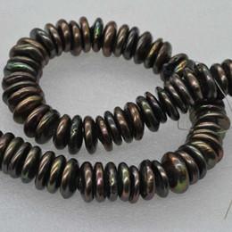 schwarze süßwasserperlenstränge Rabatt Großhandel 1 stränge große 15-17mm flache münze schwarz süßwasser perlenkette