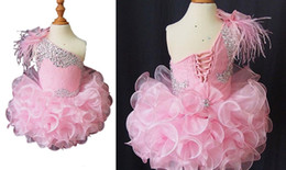 Wholesale Lace Feather Toddler Dress - 2018 Real Image Ruffles Organza Beads One Shoulder Pink Cute Girls Pageant Dresses Toddler Birthday Party Tutu Ball Gown