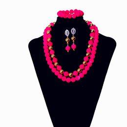 AMYNOVA Hermosa Red Bead Collar Mujeres Joyería Conjunto Africano Nigeriano Collar Pendientes Conjuntos de Joyería Envío Gratis YZ2 desde fabricantes
