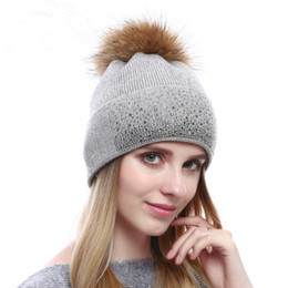 Wholesale Raccoon Hair - Fashion knit hat autumn and winter raccoon hair ball cap lady warm cashmere hat rhinestones wool hat