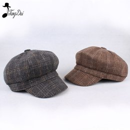 painters hats wholesale 2019 - 2018New Spring Autumn Winter Beret Women  Berets Ladies Plaid Wool Adult 29a8867f4447