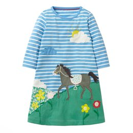 Wholesale jump for kids - Jumping meters Horse Autumn Princess Dress Animal Pattern 2018 New Kids Dresses For Baby Girls Clothes Long Sleeve Children Costume