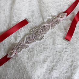 Wholesale diamond bridal belts - Satin Wedding Belts XW54 Wedding Accessories Appliqued Blosspm Artificial Diamonds Handmade Manual Cutting Bridal Accessories Wedding Sashes