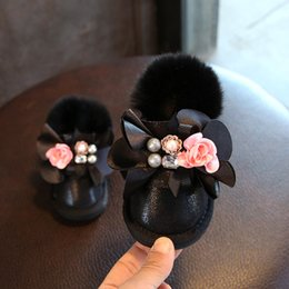 Wholesale Toddler Girl Booties - Kids Girls Snow Boot 1-3T Baby Girl Flower Bow Warm Shoes 2018 New Children Winter Pearl Booties (Toddler Little Kid) D406