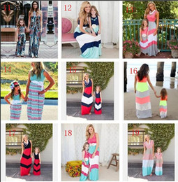 Wholesale matching mommy daughter dresses - Family matching outfits 2017 new kids clothing stripe sleeveless casual mother daughter dresses clothes mommy and me