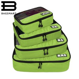 "Wholesale Shoes Bag Sets - BAGSMART New Breathable Travel Bag 4 Set Packing Cubes Luggage Packing Organizers with Shoe Bag Fit 23"" Carry on Suitcase"