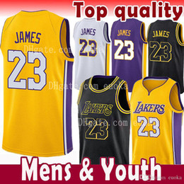 Wholesale top quality jerseys - top quality 23 LeBron James Men Youth Kids Jersey 2018 NEW 2 Ball 0 Kuzma 24 Kobe Bryant LeBron James Black Gold the city soccer Jerseys