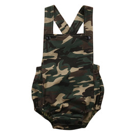 Wholesale New Fashion Camouflage Clothing - Camouflage Newborn Baby Romper Clothes 2018 New Summer Sleeveless Infant Bebes Boys Girls Fashion Toddler Kids Jumpsuit Sunsuit