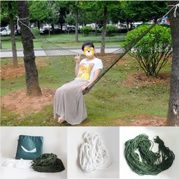 Wholesale netting for garden - Net Mesh Nylon Rope Hammock Outdoor Sport Hammock Camping With Hooks For Garden Beach Yard Travel Leisure Hammock Free DHL G670F