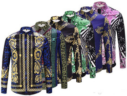 Wholesale leopard print dress shirt men - 18 Autumn winter long sleeve Casual shirts men printed dress shirt Color Print Slim Fit medusa Silk Shirts