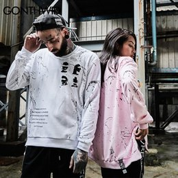 Wholesale Graffiti Printed Sweatshirt - Side Zipper Ribbon Hoodies Inked Graffiti Printed Pullover Sweatshirts Hip Hop Skateboards Oversized Swag Hoodies For Man And Women