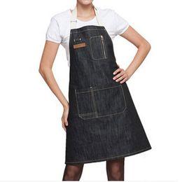 Wholesale Cook Kit - Kitchen Apron 1pcs 70 *60cm Unisex Solid Denim Pocket Cooking Aprons Kit Bib Restaurant Home Short And Long Section