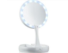 Pantalla de la lámpara led online-My Fold Away LED Mirror de maquillaje Doble cara Rotación Plegable USB Iluminado Espejo de vanidad Pantalla táctil Lámpara de mesa portátil con caja al por menor