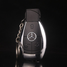Wholesale Windproof Led Lighter - Fashion Design Creative Car Model Windproof Lighter Flame gas key chain Men cigarette lighter Key buckle With LED Flashlight gift lighter