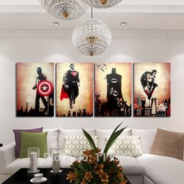 Wholesale Batman Sheets - Hand-painted Abstract Marvel Comics Heroes Oil Painting On Canvas Retro Movie Star Batman, Hulk, Captain America, Thor Poster