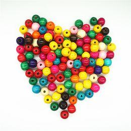 Wholesale Color Wood Beads - 6-20mm Wood Bead Mixed Color Wooden Round Beads Spacer Wood Beads Mixed Accessories Diy Multicolor Kids Handmade