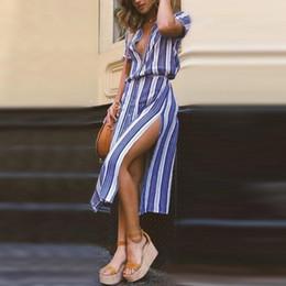 vestidos ajustados de rayas de talla grande Rebajas Buena calidad Mujeres de verano de impresión a rayas vestido de fiesta de noche largo vestido de playa vestido de lino vestido largo boho vestidos ajustados más tamaño