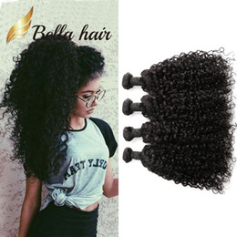 Wholesale 6a peruvian hair - 4pcs lot Peruvian Curly Hair Natural Black Color 6A 100 Peruvian Human Hair Extensions Donor U.S. Free Shipping 2018 Julienchina Bella Hair