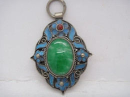 Wholesale Jade Carved Flower Pendant - Chinese tibet-silver inlay old green jade Cloisonne blue Flower Pendant