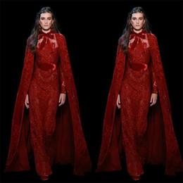 roter teppich kleider umhänge Rabatt Elie Saab 2019 Mantel Abendkleider Jewel Sheer Neck Bow Red Lace Pailletten Mantel Red Carpet Dress