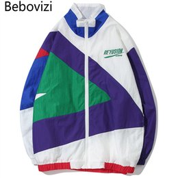 84f48a2841f29 Bebovizi marca 2018 streetwear hip hop chaqueta geometría patchwork  cremallera completa cazadora chaquetas hombres abrigos moda casual