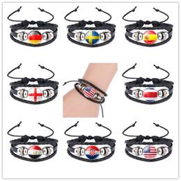 land flaggen armbänder Rabatt DHL World Cup Nationalflaggen Bettelarmband Armreifen Handgemachtes Armband Länderflaggen Fans Leder Seil Perlen Armband 35 Modelle auf Lager