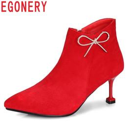 c46482ef4 оптовые женские сапоги новые zip высокие тонкие каблуки острым носом стадо  Кристалл боутис мода sexy red wedding большой размер женская обувь