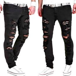 Wholesale Black Hole Design - Men Ripped Holes Design Jeans Black Casual Long Pants Spring HIp Hop Rap Street Trousers Pencil Pants