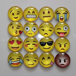 Wholesale Kinder Sticker - 30MM 13 Kinds Expressions Cute Round Cartoon Emoji Face Refrigerator Sticker Fridge Magnet Notes Message Holder Glass Dome Home