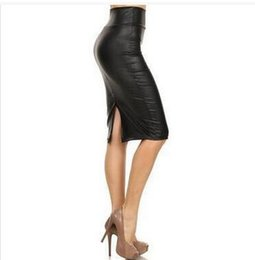 Wholesale Plus Size Faux Leather Skirts - Wholesale- Bohocotol 2017 summer women plus size high-waist faux leather pencil Slits skirt black leather skirt S M L XXXL free shipping