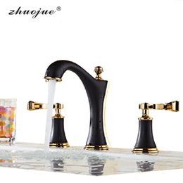 Wholesale Kitchen Faucet Bronze - Kitchen Chrome Faucet Basin Faucet 3 Piece Modern Sink Waterfall Mixer Valve For Hot Cold Water Bronze 3 Hole Basin-Faucets