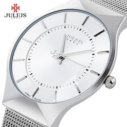 Top  Julius Men Watch Stainless Steel Band Analog Display Quartz Wristwatch Ultra Thin Dial Men's Watches Relogio Masculino supplier julius analog watch от Поставщики аналоговые часы julius
