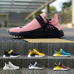 Wholesale Day Light Running - 2018 Newest NERD Human Race Mens Running Shoes yellow Hu trail sun glow noble ink pale nude Men Womens Sports Shoes