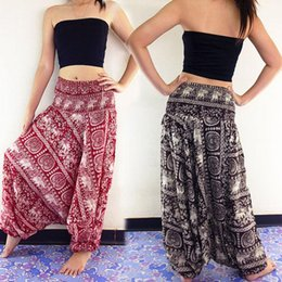 Wholesale Black Baggy Trousers Women - 2018 Women New Fashion Ladies Comfy Beach Baggy Boho Wide Leg Pants Hippie Women Harem Pants Trousers