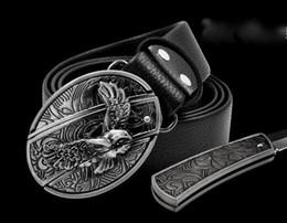 Fivelas de águia on-line-Hot vender moda cool águia cabeça cartão de jogo cruz novel scorpion 10 estilo cinto fivelas cintos e escondido auto-defesa cinto de esportes ao ar livre