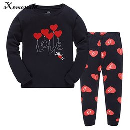 Wholesale girl pjs - Xemonale Kids Girls Pajamas Sets Autumn Winter Cartoon Love Sleepwear Pjs Clothing Set Toddler Baby Sleepwear Clothes Size 2-7Y