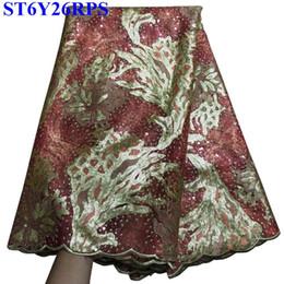multicolore tessuto di sequin Sconti Tessuto di pizzo di paillettes ricamato con paillettes e perline per abiti da sposaTY02