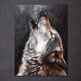 fotos de lobo gratis Rebajas HD Impreso 1 Unidades Arte de la Lona Howling Wolf Pintura Abstracta Enmarcada Modular Wall Pictures para la Sala de estar Envío Gratis CU-1735A