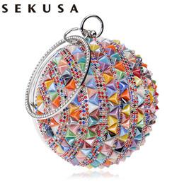 Canada SEKUSA Céramique Perlée Femmes Embrayages Diamants Rivet Mode Ronde Dame Sacs De Soirée En Cristal De Noce De Mariée Bourse Offre