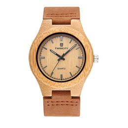 brw TWINCITY wood watch Novel cool Bamboo Wooden Watch Men stylish Relogio Masculino Men's Watch Cinturino in pelle al quarzo Orologio da polso casual da
