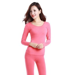 Wholesale Women Red Thermal Underwear - Winter Thermal Underwear Sets Women Slim Seamless Long Johns Sexy Warm Bodycon Thermal Underwear Female Two Pieces Set Lingerie