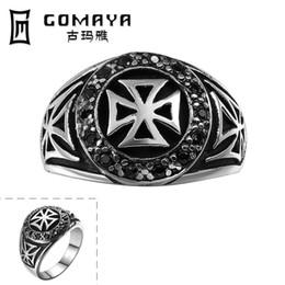2019 diseños antiguos anillos de oro R146-8 Anillos de acero inoxidable 316L del cristianismo cristiano cruzado templario clásico de lujo de los hombres