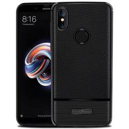 Argentina Anti-Huellas Dactilares y Antideslizante Suave de Silicona Slim Litchi Skin Rugged Armor Funda de Contraportada para Xiaomi Redmi Note 5 Pro (India) Suministro