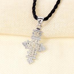 Canada Vintage argent éthiopien pendentif croix noire corde pour femmes / hommes, religions ethniques africaines bijoux érythrée grandes croix Offre