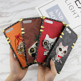Wholesale 3d animals phone covers - 3D Vintage Embroidery Cover Luxury brand Fashion Animal Pattern High Quality Shockproof PU Leather Phone Hard Case For iPhone X 8 7 Plus 6S