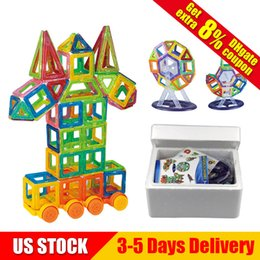 Wholesale educational toys blocks - 194 Pieces lot Mini Magnetic Blocks Building Tiles Set 3D Educational Construction Toys for Boys and Girls US STOCK