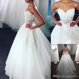 Wholesale Multicolor Tulle - Wedding Dresses 2018 Sweetheart Illusion Bodice Lace Applique A-line Tulle Long Bridal Wedding Gowns Lace-up Cheap Unique