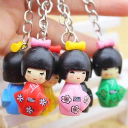 Wholesale japanese girl keychain - Japanese Kimono Girl Keychain Cartoon Doll Puppet Keyring Birthday Party Favor And Gift Free Shipping ZA6695