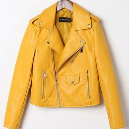 ba2065946226 2018 neue gewaschene Lederjacke Mantel koreanische dünne Damen Farbe kleine  Lederjacke Frauen Streetwear Kleidung Bomber Mantel