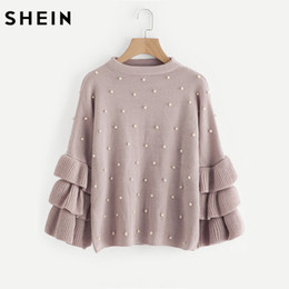 Wholesale Pink Pearl Sweaters - SHEIN Pearl Beaded Layered Ruffle Sleeve Loose Jumper Pink Crew Neck Long Sleeve Cute Women Sweaters and Pullovers